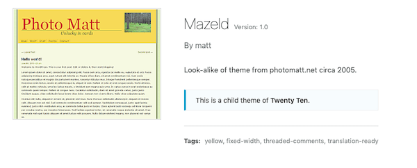 A look at the Mazeld child theme