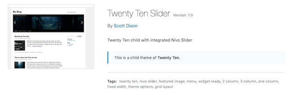 A look at the twenty ten child theme slider