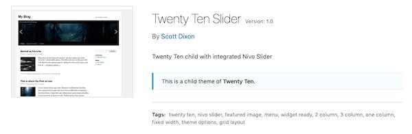 A look at the twenty ten child theme slider
