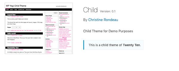 A look at the twenty ten child theme: yogi