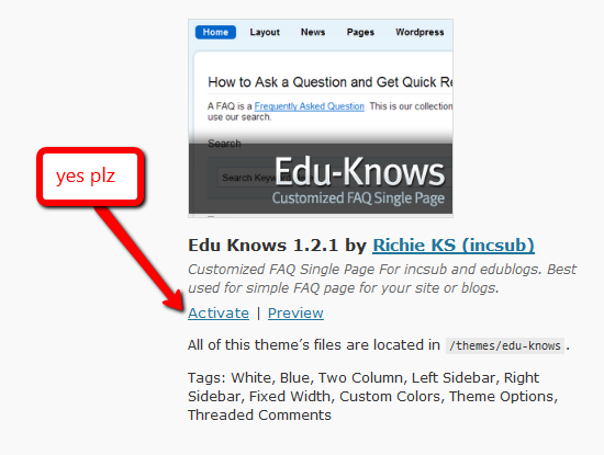 Activate EduKnows Theme