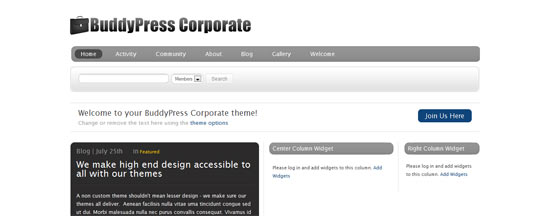 WPMU DEV BuddyPress Corporate free wordpress theme