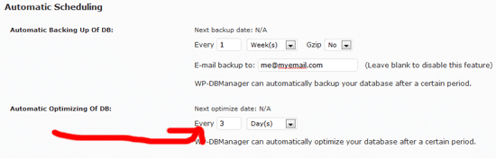WP DB Manager automatic settings