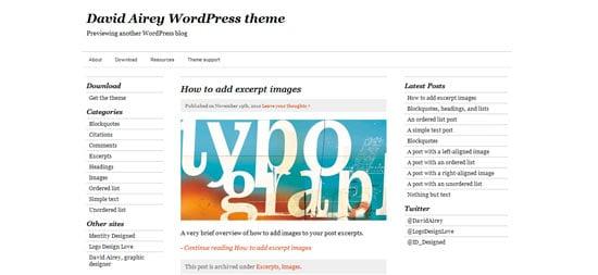 David Airey wordpress theme