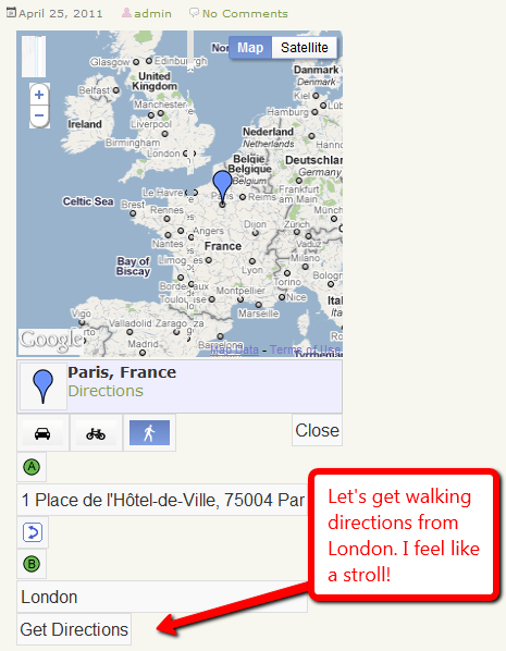 Map with pin at Paris and directions