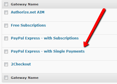 Paypal single payment gateway
