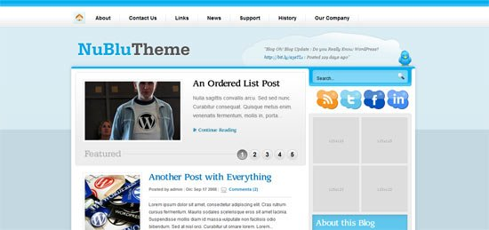 NuBlu free wordpress theme