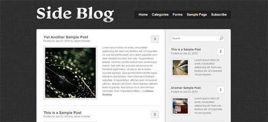 Sideblog wordpress theme