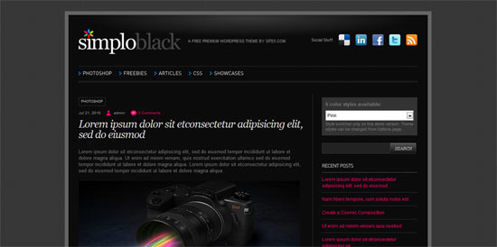 Simplo Black free wordpress theme