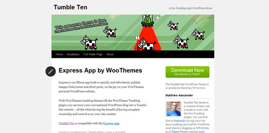 WP Switch TumbleTen free wordpress theme