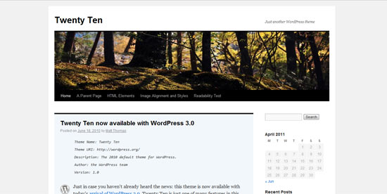 TwentyTen Five free wordpress theme