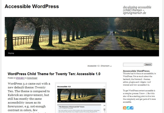 Accessible free wordpress theme
