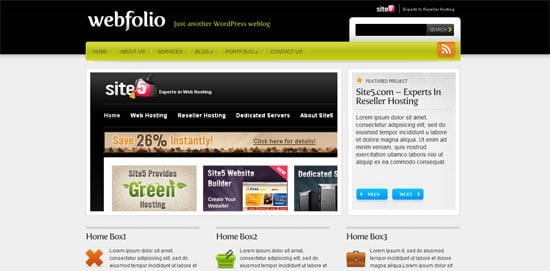 Webfolio free wordpress theme