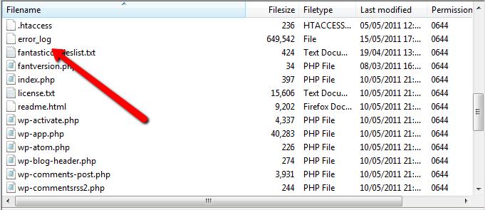 error log in FTP folder