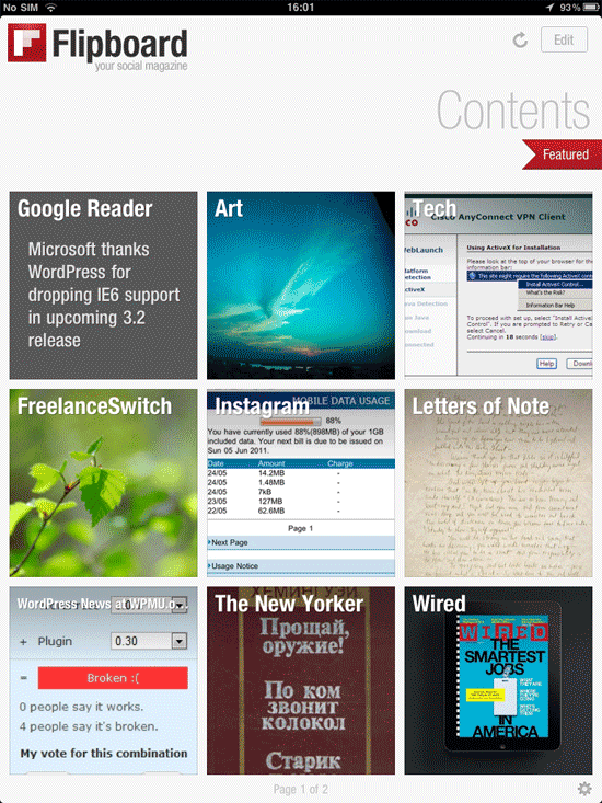 My Flipboard table of contents