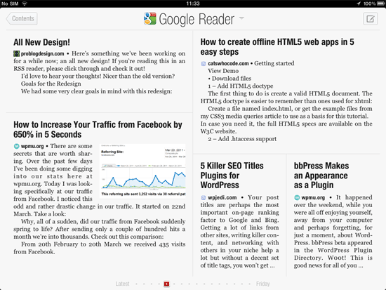 Flipboard displaying Google Reader