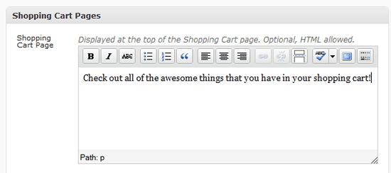 shopping cart message