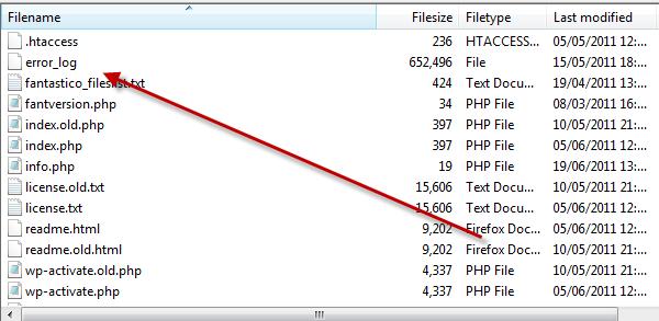 Error log in FTP