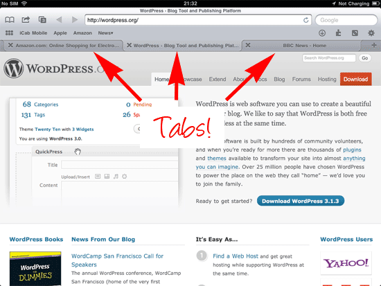 icab iPad browser with tabs