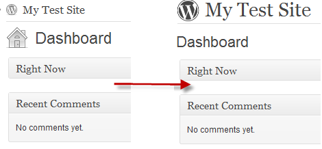 increase in dashboard site title and icon removed