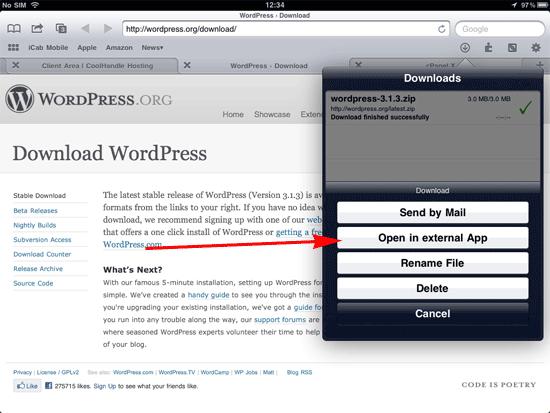 open in external app option in iCab