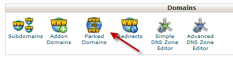 parked domain icon in Cpanel