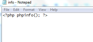 PHP Info file in notepad