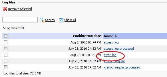 Plesk error log