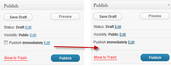 removal of publish icon