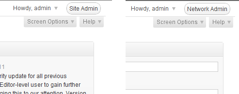 network admin and site admin buttons