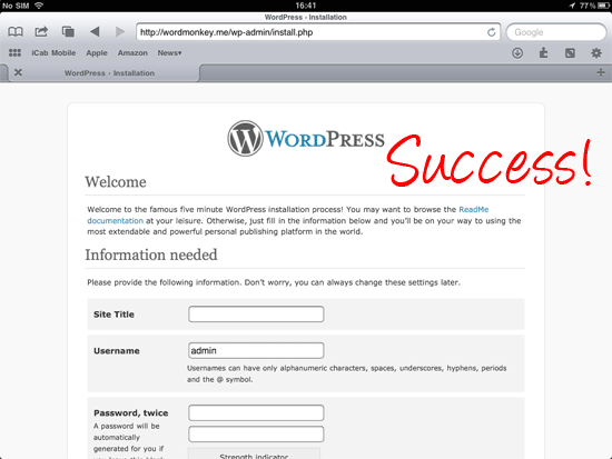 wordpress installation page
