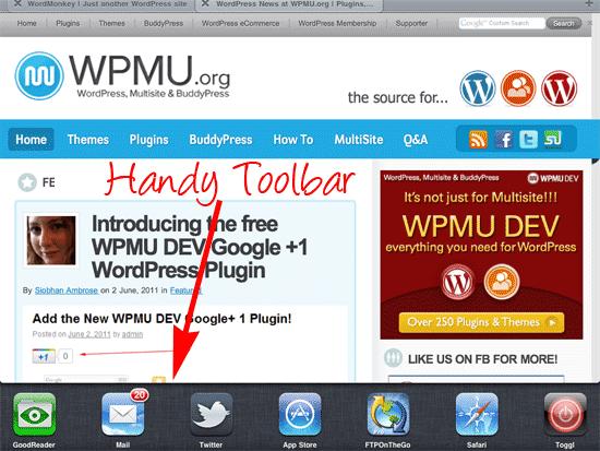 toolbar on iPad