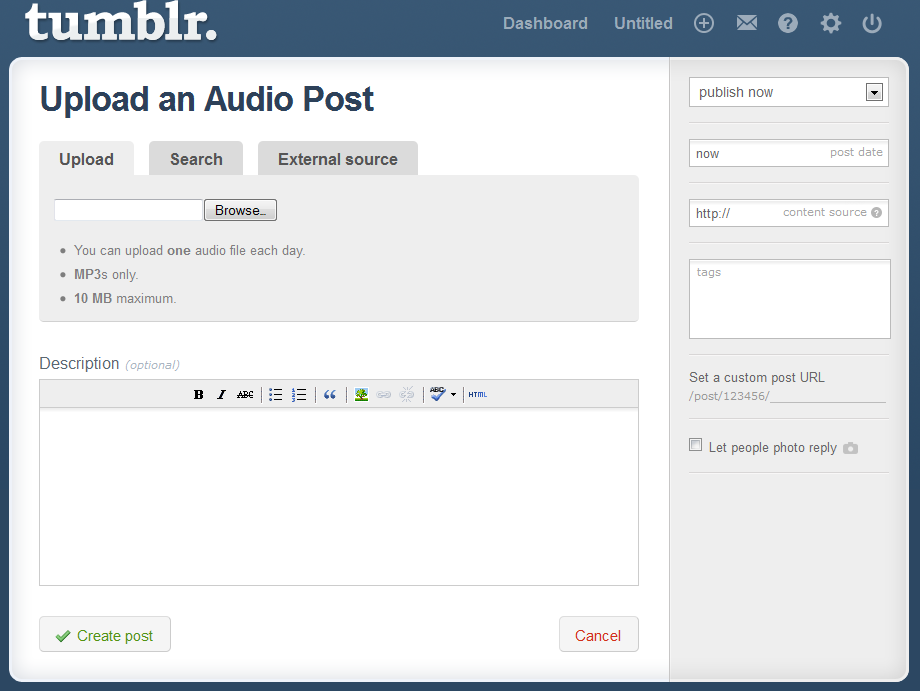 tumblr audio input