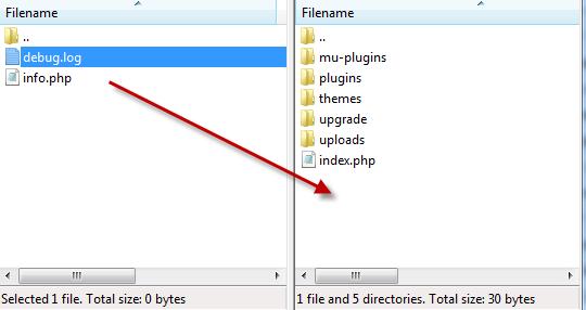 upload debug log