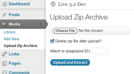 Upload Zip Files to the WordPress Media Library and Attach