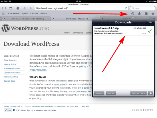 Wordpress in download folder