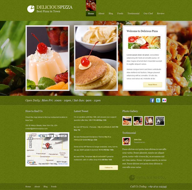 Delicious Pizza WordPress Theme for Restaurants