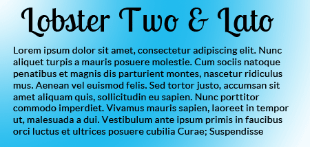 Lobster Two and Lato fonts