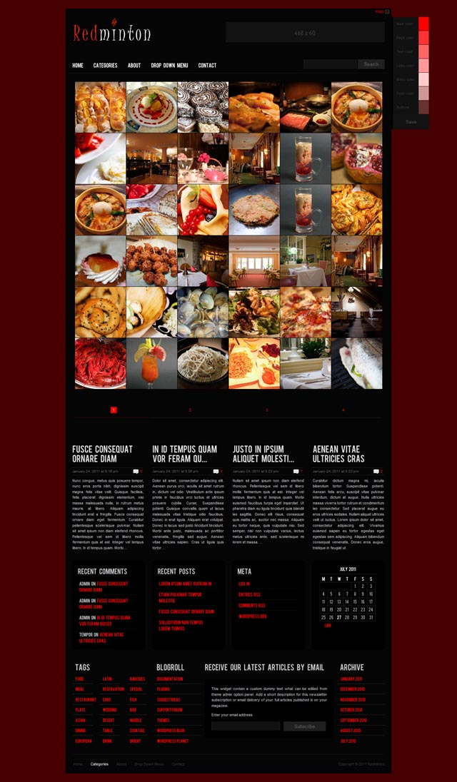 Redminton WordPress Theme for Restaurants