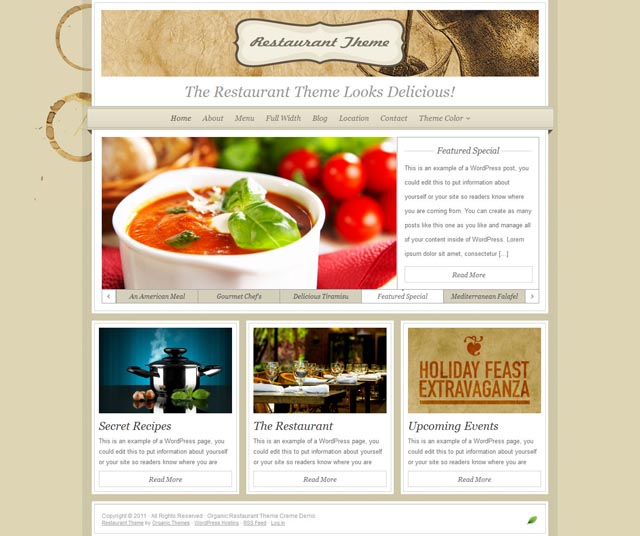 Restaurant Theme WordPress Theme for Restaurants