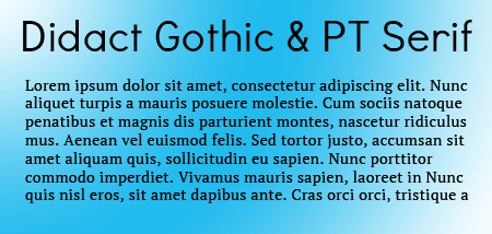 Didact Gothic with PT Sans Google Fonts