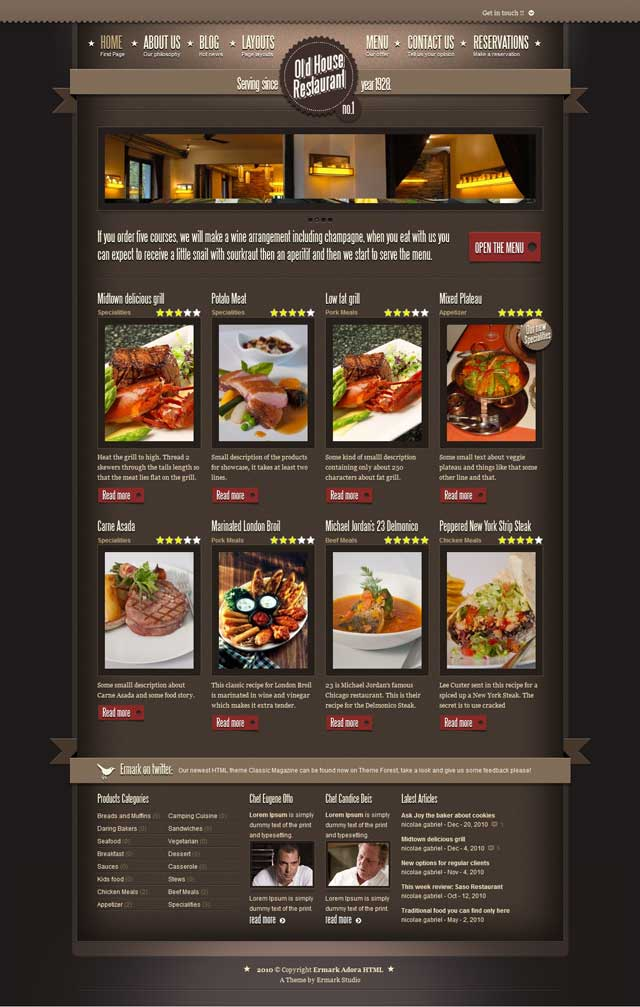 Ermark Adora WordPress Theme for Restaurants