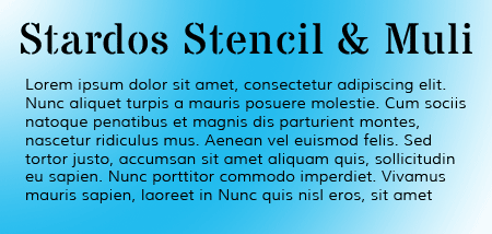 stardos stencil and muli google fonts