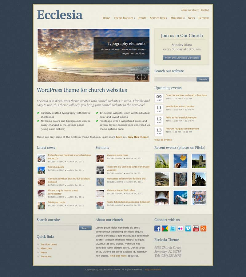 Ecclesia WordPress Theme for Church