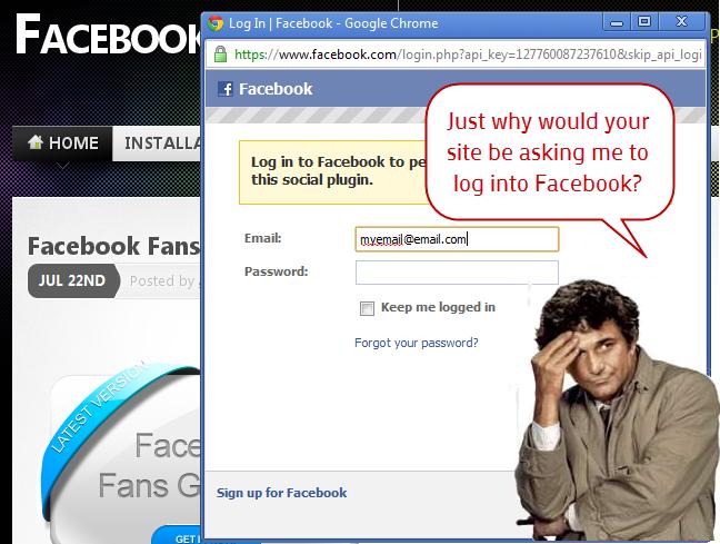 website asking visitor to log into Facebook