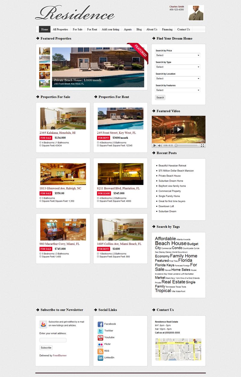 Residence Real Estate WordPress Theme from Gorrilla Themes