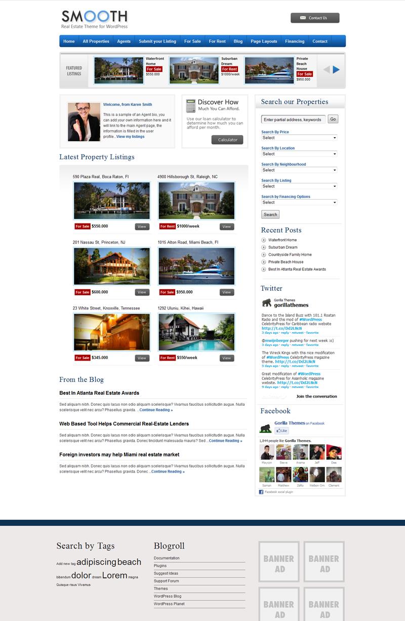 Smooth Real Estate WordPress Theme from Gorrilla Themes