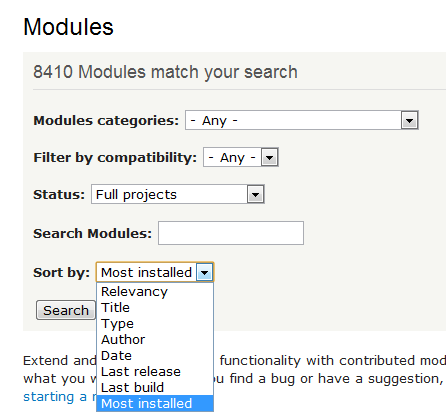 Drupal's search engine for its modules