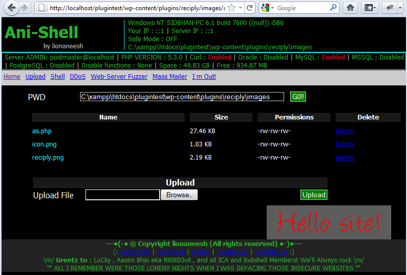 shell logged in directly to the plugin folder on the hacked site