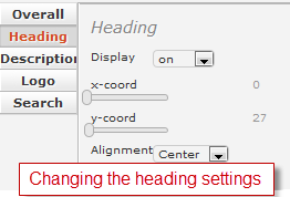 Change the heading settings